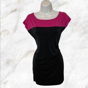 THYME Black & Pink Bateau Neck Stretchy Dresss